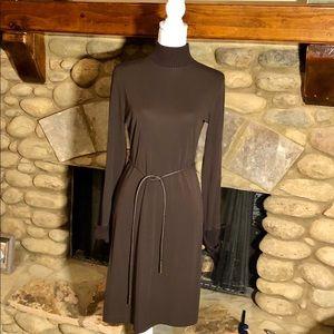 J. Jill Turtleneck Brown Belted Dress Size 8
